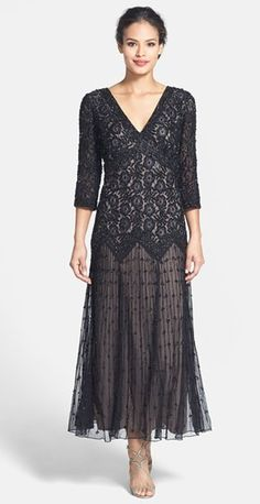 Vintage Style 3/4 Length Sleeve Dress for MOB with beadwork | Mother of the Bride / Mother of the Groom