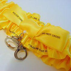 MY DREAM GARTER!!!!  Wedding garter  POLICE LINE do not CROSS  by PetereneDesign