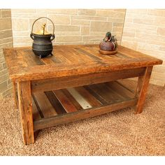 rustic america western style 1940's ash rectangular coffee table