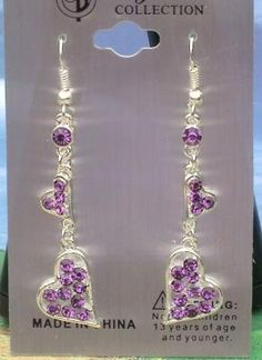 $5 NEW CRYSTAL COLLECTION DANGLING PURPLE HEART EARRINGS-#502
