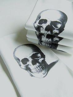 d472fdb63a0 Skull Printed Cotton Napkins Set by Nicole Porter Design eclectic table  linens Crane