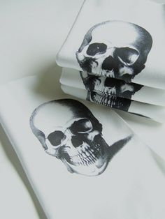 Skull Printed Cotton Napkins Set by Nicole Porter Design eclectic table linens