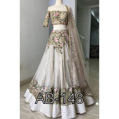 Sequin floral lehenga choli in custom sizes - Indian Gowns Dresses, Indian Fashion Dresses, Dress Indian Style, Indian Designer Outfits, Designer Dresses, Pakistani Dresses, Fashion Outfits, Lehenga Choli Designs, Floral Lehenga