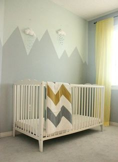 Mountain Mural Nursery Wall is part of How To Paint A Diy Nursery Mountain Mural No Art Skills Here comes another painting project post — a mountain mural in the nursery For some reason, I always -