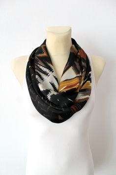 Brown Infinity Scarf - Womens Clothing - Satin Geometric Loop - Circle Fabric Shawl - Women Fashion Accessories - Scarves Gift Ideas for her