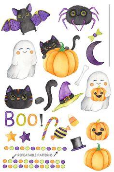 Theme Halloween, Halloween Doodle, Easy Halloween Decorations, Halloween Clipart, Halloween Drawings, Halloween Painting, Spooky Halloween, Monster Clipart, Halloween Wallpaper Iphone