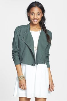UNDER $15! This chic $40 French Drape Front Twill Jacket for juniors is on sale now at Nordstrom Rack for only $14.97! (posted 11/21/14)