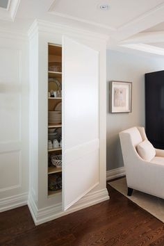 Wood Shoe Storage Cabinet - Ideas on Foter Hidden Closet, Hidden Rooms, Hidden Pantry, Hidden Cabinet, Open Cabinets, Wall Cabinets, Built In Cabinets, Kitchen Cabinets, Wood Panel Walls