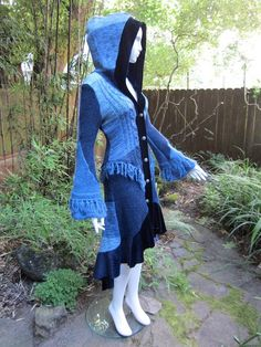 Recycled Sweater Coat 57 Light Blue Sky Navy by ipseity on Etsy