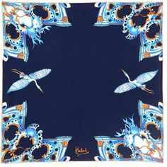 Kinloch Palagonia Silk Foulard (€197) ❤ liked on Polyvore featuring accessories, scarves, navy, navy shawl, pure silk scarves, silk scarves, navy scarves and navy blue scarves