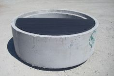 "Concrete Fire Pit made from 36"" culvert pipe with a 1/2 steel grate"