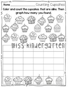 """""""Counting Cupcakes"""" Graphing Activity (from Miss Kindergarten, Winter Print and Go Pack)"""