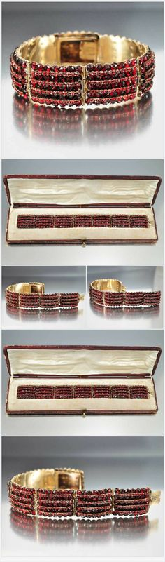 Antique Victorian Bohemian Garnet Bracelet w Fitted Case  Boylerpf