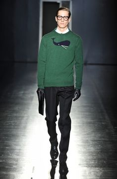 Brand: Jill Sander. Love the glasses and knitwear. Geek chic.