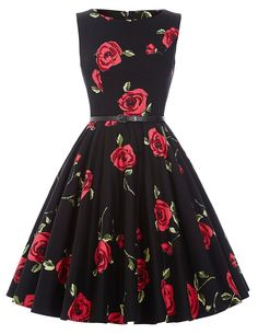Cute Boatneck Sleeveless Vintage Tea Dress With Belt Roses