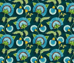 This is just beautiful!  (Marie - blue vine fabric by katrinazerilli on Spoonflower - custom fabric)