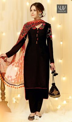 Intricate Black Embroidered Work Designer Straight Salwar Suit Looking amazing with attachment of black cotton satin designer straight salwar suit. This attire is encrafted with embroidered and resham work. Comes with matching bottom and dupatta. Bollywood Outfits, Pakistani Outfits, Bollywood Fashion, Indian Outfits, Pakistani Clothing, Ethnic Outfits, Punjabi Fashion, Indian Fashion, Churidar