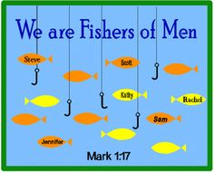This bulletin board will remind kids they are called by Jesus to reach out to others in the community. When the first apostles were called, Jesus said He would make them fishers of men. As disciples of Jesus, we too are fishers of men.