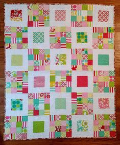 Little Bunny Quilts: Moxi Charm Baby Quilt {Finished Quilt} Pink Quilts, Baby Quilts, Scrap Busters, Charm Quilt, Medallion Quilt, How To Finish A Quilt, Doll Quilt, Square Quilt, Quilting Designs
