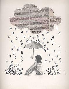 Escuela - biblioteca de aula. Lluvia de letras que formen valores.