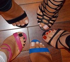 so sexy! love their toes & strappy heels! Nice Toes, Pretty Toes, Sexy Legs And Heels, Hot High Heels, Feet Soles, Women's Feet, Sexy Zehen, Pies Sexy, Stilettos