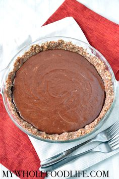 Creamy and luxurious chocolate almond butter mousse pie is a must try. Absolutely no cooking required and totally delicious. Vegan, gluten free and paleo.