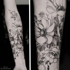 Diana severinenko tattoo. anemones. flowers