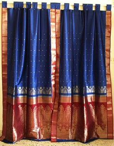 sari curtains--maybe DIY...not sure the blog link leads anywhere...either way..maybe I could make them with an old sari