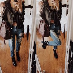 christie's closet ripped hayden boyfriend jeans striped shirt khaki jacket black boots