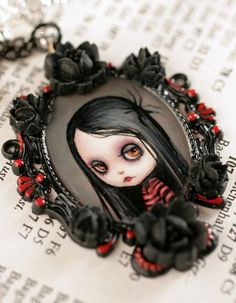 Darkly Darling - Blythe Love - original #cameo by Mab Graves by mab graves, via Flickr #goth #black