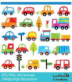 Cutesy Cars Digital Clip Art (Instant Download)