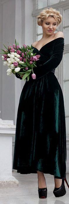 Green Velvet Off The Shoulder Maxi Gown