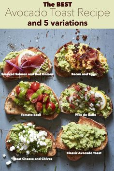 My love for Avocado Toast runs deep. Really deep. So deep that I created The perfect Avocado toast recipe + my favorite 5 versions of it for you. Whether you are making one for yourself or creating an avocado toast bar there is something delicious in here Best Avocado Toast Recipe, Avocado Recipes, Healthy Recipes, Avacado Toast, Simple Avocado Toast, Cooking Avocado, Avocado Breakfast, Breakfast Toast, Breakfast Recipes