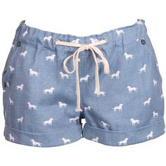 Denim Dog Print Shorts ($18) ❤ liked on Polyvore