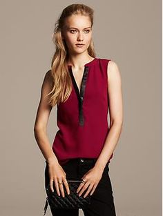 Faux-Leather Trim Sleeveless Blouse; like the color and the placket detail. Would like sleeves of any description, and maybe some shaping elements.