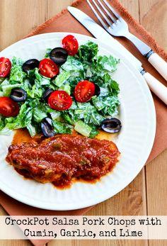 CrockPot Salsa Pork Chops with Cumin, Garlic, and Lime found on KalynsKitchen.com