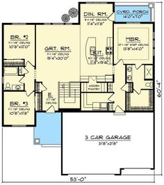 Craftsman With Open Concept Floor Plan Floor Master Suite Butler Walkin Pantry CAD Available Craftsman Northwest PDF Split Bedrooms Architectural Designs House Plans One Story, Ranch House Plans, Craftsman House Plans, New House Plans, Dream House Plans, Small House Plans, House Floor Plans, Split Level House Plans, Craftsman Ranch