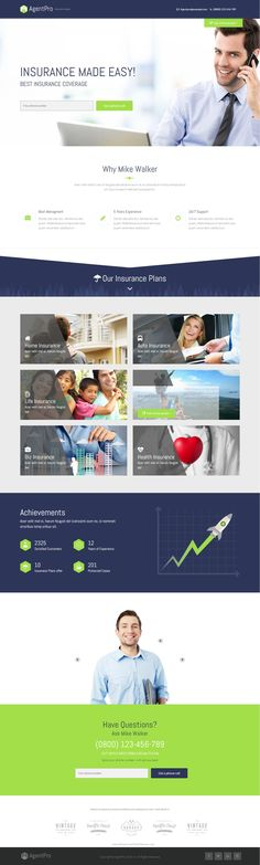 Agentpro Landing Page #Template is a great design idea for #website of Different Agents working in different fields like Travel,Marketing,auto, #Insurance etc