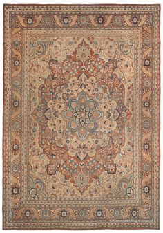 Hadji Jallili Tabriz (SOLD), 9ft 5in x 13ft 5in, Late 19th Century.     This breathtaking classical Persian rug from the renowned carpet designer, Hadji Jallili, demonstrates an affinity for harmonious, surprisingly nuanced natural hues and a masterful sense of compositional balance. At well over 120 years of age, this art-caliber 19th century Oriental rug offers superb craftsmanship, expressing in an understated, elegant design that is eloquently expressed.