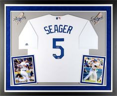 Corey Seager Dodgers Deluxe Framed Autographed White Replica Jersey - Fanatics for sale online Dodgers Sign, Best Man Caves, Corey Kluber, Kyle Schwarber, Mike Piazza, Ny Mets, Autographed Baseballs, White Jersey