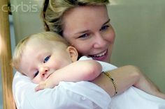 ladymollyparker via yoursweetremedy:  Crown Princess Mathilde of Belgium and a young  Princess Elisabeth