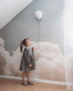 Create the bedroom of your dreams! Beautiful space created by featuring our wallpaper – Blush Clouds Daydream wallpaper