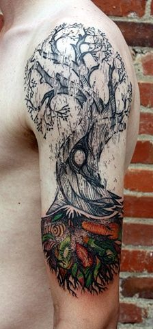 David Hale fruit tree tattoo--the detail is awesome! Love Tattoos, Unique Tattoos, Beautiful Tattoos, Picture Tattoos, Body Art Tattoos, Badass Tattoos, Arm Tattoos, Awesome Tattoos, David Hale Tattoo