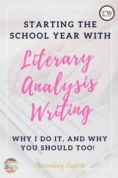 Literary Analysis Writing I Teaching Literary Analysis #literaryanalysiswriting #literaryanalysislessons