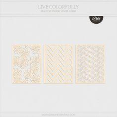 Quality DigiScrap Freebies: Live Colorfully laser cut wood veneer cards freebie from Digital Design Essentials