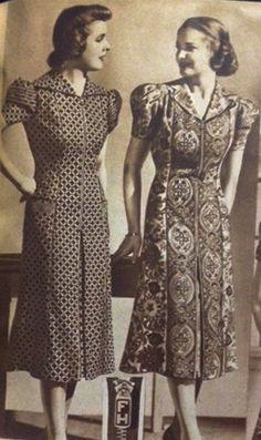 1930s House Dresses - 1930′s Zipper Front Dresses