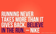 Take & give in running. Nike.