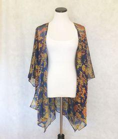 Fall Colors Kimono Dark Purple Gold Dark by MickeyandChicken