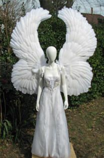 Saints and Sinners theme at Club RUB on Jan 19th 2013. www.club-rub.com/  Huge upright angel costume wings, front view