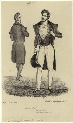 [Men standing with coats and hat, France, 1834.] Men -- Clothing & dress -- France -- 1830-1839